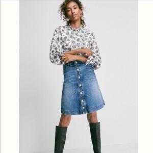 McGuire Button Front Denim Skirt 27